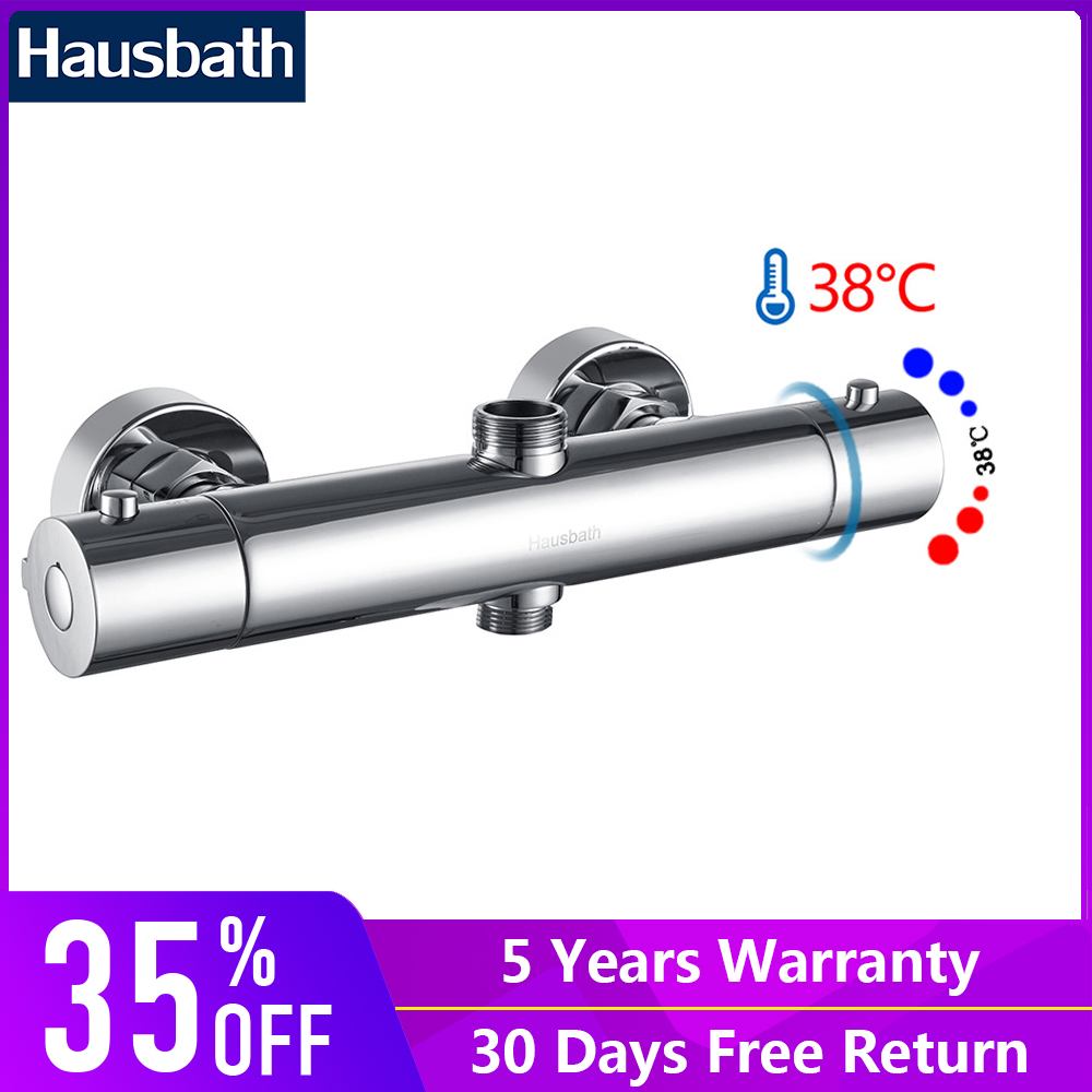 Thermostatic Faucet Bath Shower Faucet Mixer Bathroom Basin Tap Temperature Controll Mixing Valve Chrome Polished vagsure brass thermostatic pipe mixing valve bathroom shower faucet tap ceramic temperature mixer control valve home improvement