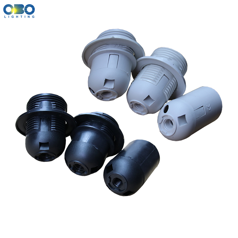 Base E27 E14 Plastic Lamp Holder Full Thread  Retro Decorative Light Fittings LED Black White Lamp Head  Light Socket