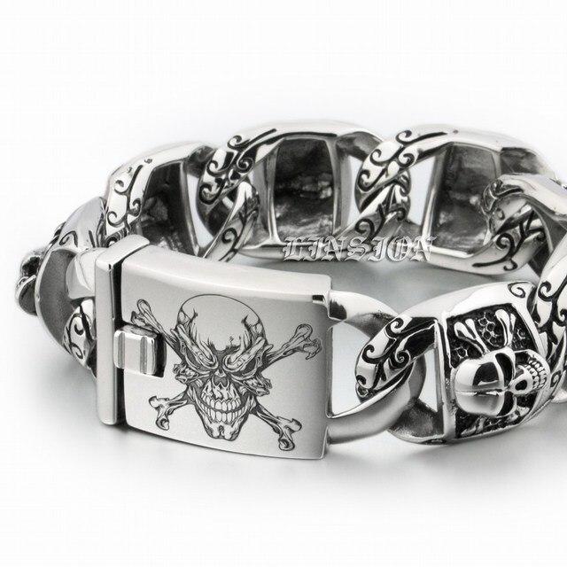 ca613095c33 LINSION Huge Heavy 316L Stainless Steel Deep Laser Engraved Pirate Skull Mens  Boys Biker Rock Punk