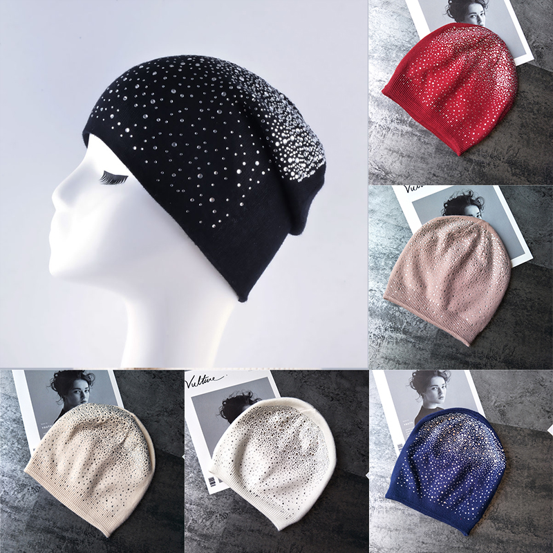 Fashion Women's Winter Hat Knitted Wool Beanie Female Skullies Casual Outdoor Mask Ski Caps Thick Warm Hats for Rhinestones Hat fibonacci winter hat knitted wool beanies skullies casual outdoor ski caps high quality thick solid warm hats for women
