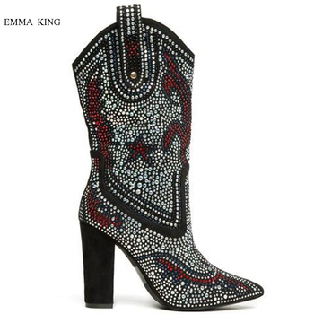 New Multi Crystal Women Boots Pointed Toe Chunky Heels Western Mid-calf Boots Autumn Winter Shoes Woman Blue Black Botas Mujer