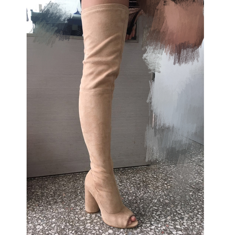 Newest Suede Peep Toe Thigh High Boots Sexy Thick Heels Woman Boots Black Beige Stretch Fabric Over the Knee Boots