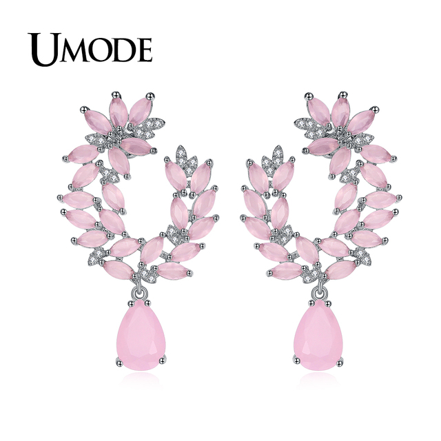 Umode Unique Design Hot Drop Earrings For Women Cute Pink Crystal Earring Cer Leaves Fashion Jewelry