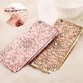 Luxo ouro bling glitter chapeamento diamante caixa do telefone para iphone 5se 7 plus 6 6 s plus tpu macio de volta para o iphone em 5 5S se tampa