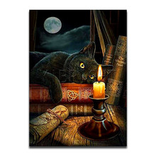 Full Square 5D DIY Diamond Painting Black Cat Moon Book Round Drill 3D Embroidery Cross Stitch Mosaic Rhinestone Y3 full square 5d diy diamond painting black cat moon book round drill 3d embroidery cross stitch mosaic rhinestone y3