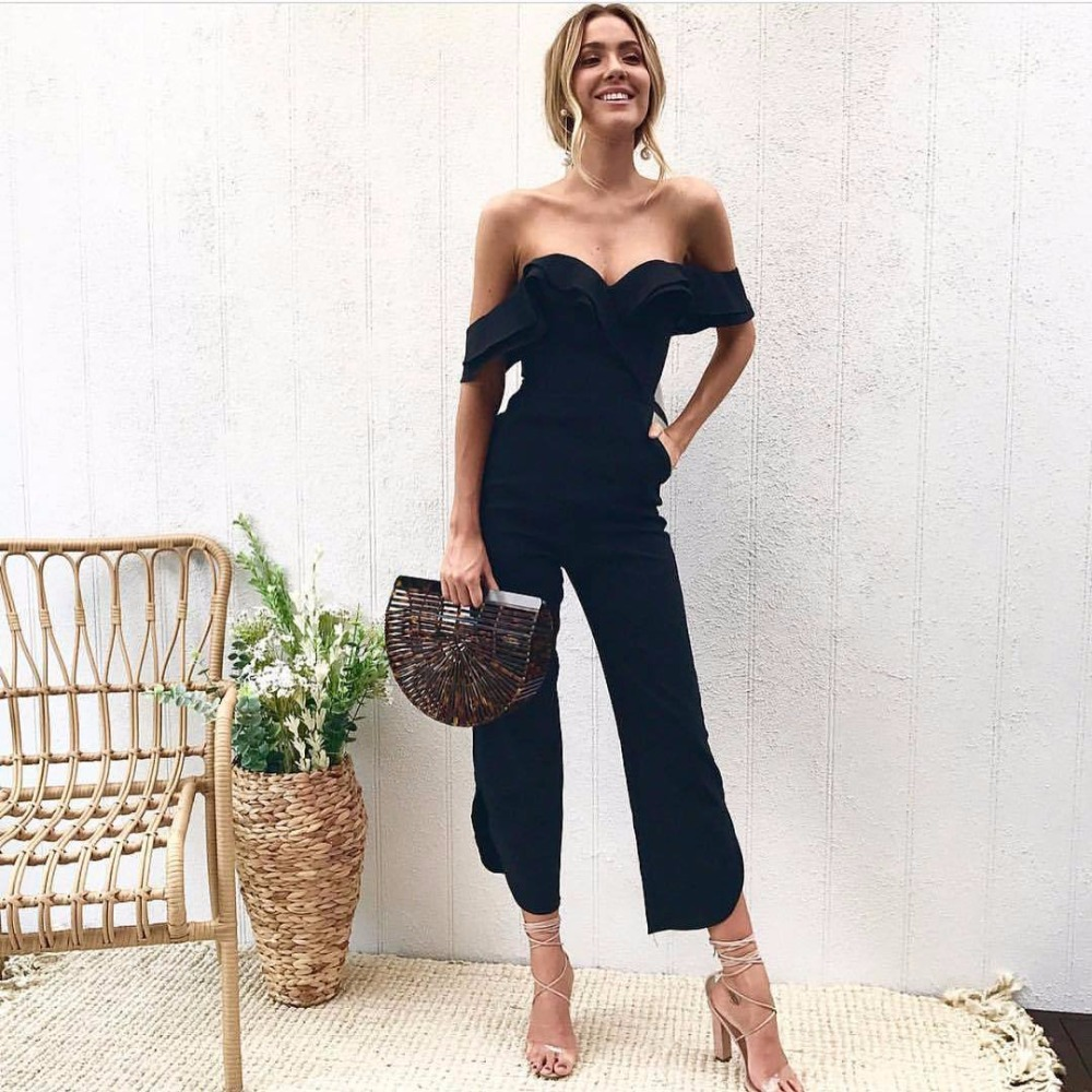 2018 New Ruffles Strap White Black Jumpsuit Sexy Off Shoulder Split Wide Leg Rompers For Women Slim Waist Party Overalls