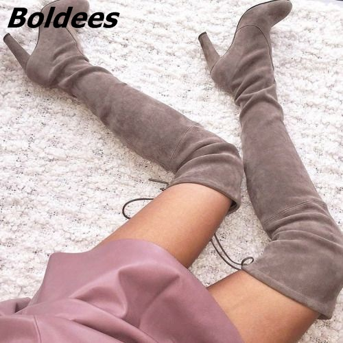 Women Classy Solid Color Suede Chunky Heel Thigh High Boots Easy Wear Slip-On Lace Up Long Boots Cerebrities in Same This Year