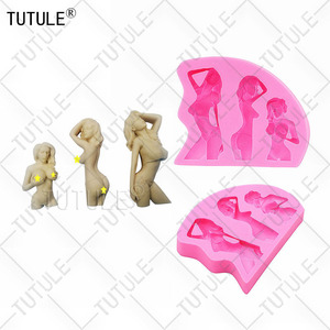 Beauty female silicone mold, Big Breasted, Nude Female Bust Silicone Mold, Fondant Cake Chocolate Lollipop Clay Body art mold(China)