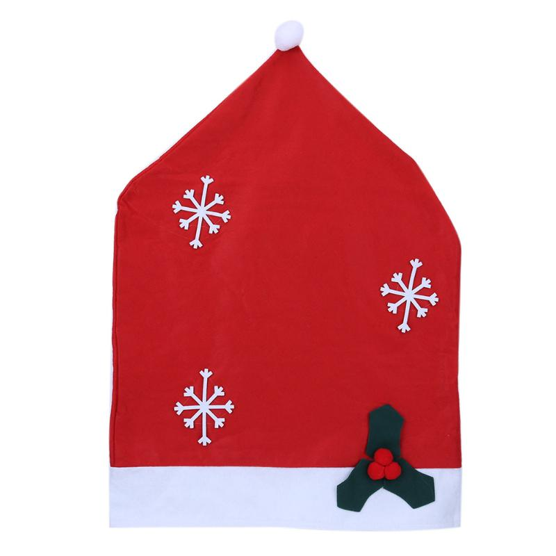 2017 Hotel Restaurant Decor Snowflakes Chair Cover Christmas Dinner Table Party Red Hat Chair Back Covers Christmas Decoration
