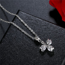 FYM High Quality 3 Colors Flower Shape Cubic Zircon Classic Silver Color Pendants Necklaces For Women Jewelry Party fym high quality fashion snow flower shape 4 colors necklace