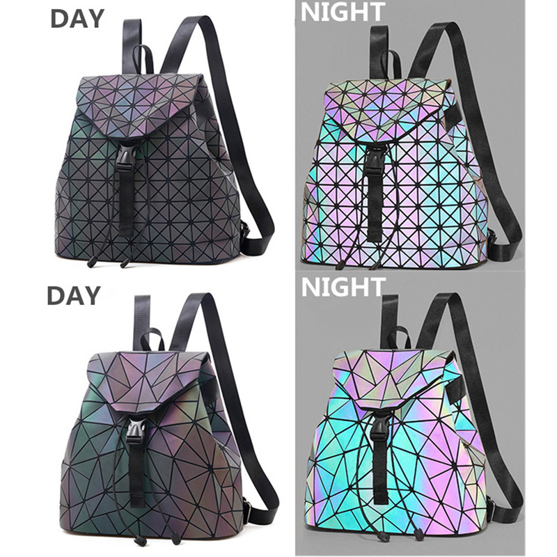 1PC Luminous Backpack Women Leather Geometric Backpacks Diamond Lattice Drawstring Backpacks Holographic Backpack Purse 2018