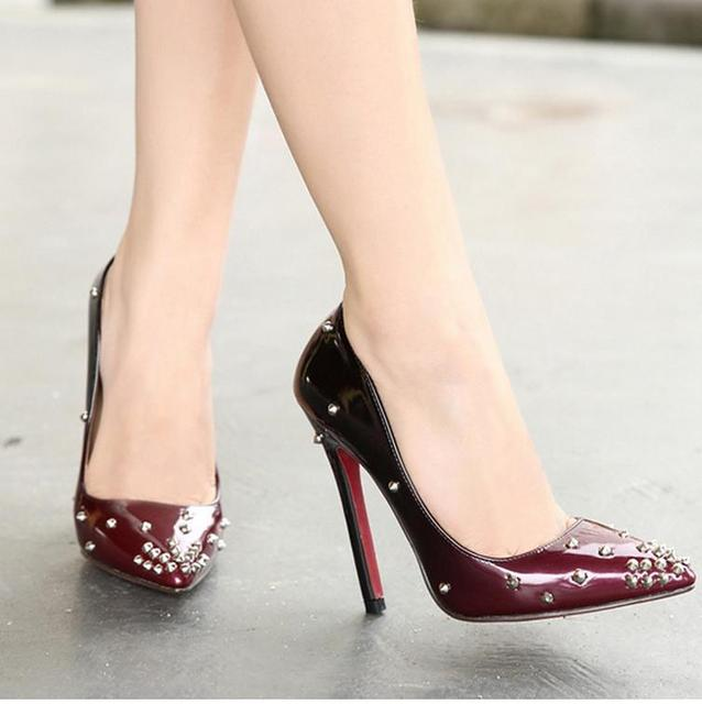 70fc4b59b08b Gradient color pointed toe rivets shoes red bottom high heels designer shoes  wine red blue size 35 to 40