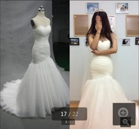 Lovely mermaid white pleated new design real picture wedding dress strapless court train fashion gorgeous bride wedding gowns