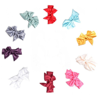 10pcs Random Color Baby Girl Toddler Bow Headband Accessories Infant Solid Color Party Hair Band