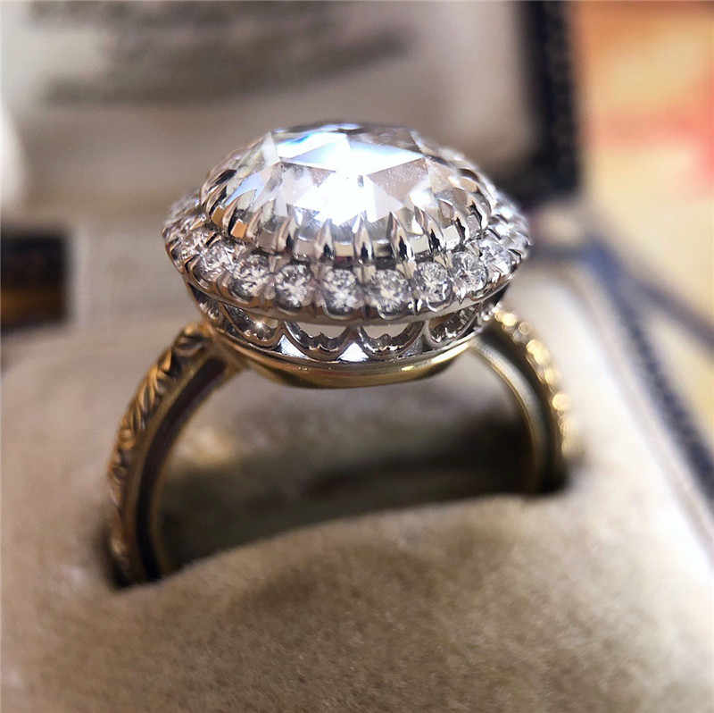 Luxury Big Crystal Zircon Stone Ring Male Female 925 Silver Engagement Ring Vintage Party Wedding Rings For Women