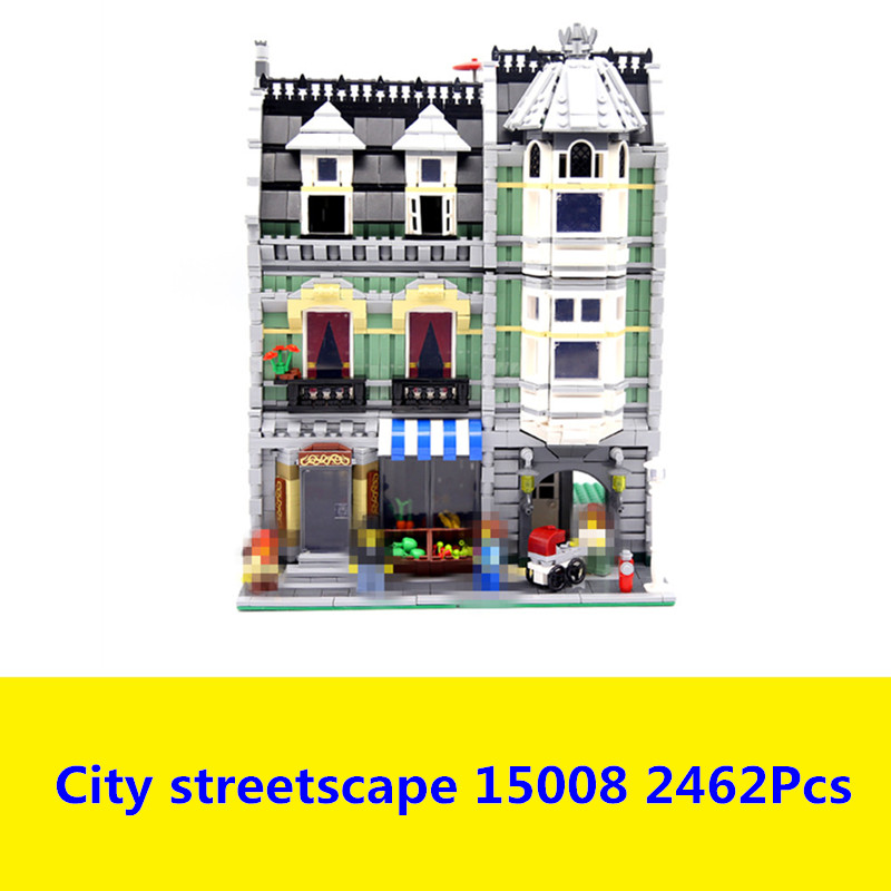 15008 2462Pcs City Street Green Grocer Model Building Kits Blocks Bricks Compatible Educational lego 10185 3D Bricks figure toys lepin 15008 new city street green grocer model building blocks bricks toy for child boy gift compatitive funny kit 10185 2462pcs