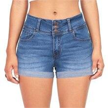 Cintura alta Jean botón cremallera pantalones cortos de mezclilla de las mujeres rayado diseño de bolsillo pantalones cortos Mujer corto mujer pantalones cortos Mujer