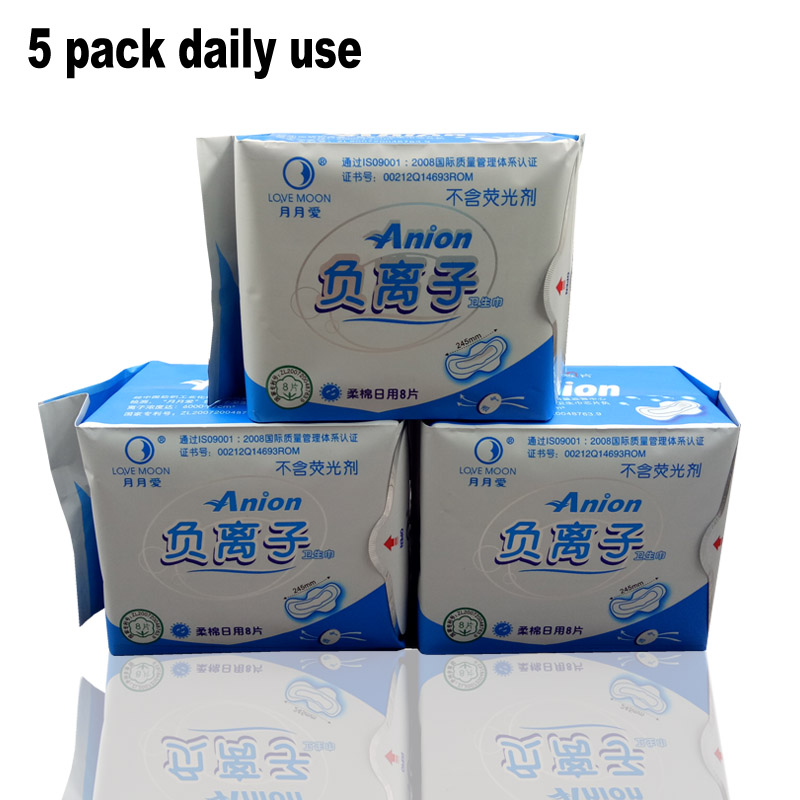 5 pack Anion pads love moon anion sanitary pads daily use 100% cotton Don't add fluorescent agen menstrual pads winalite