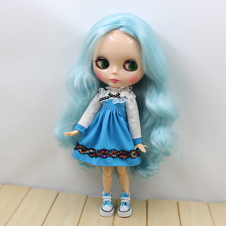Free shipping blyth doll icy licca long blue mix green curly hair joint body 280BL60054006 1/6 30cm natural skin gift toy free shipping icy doll joint body natural skin black hair bjd toy gift bl117