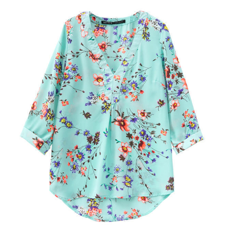 Women Summer V Neck Floral Print Light Green Shirt 3/4 Sleeve Longer at Back Chiffon Blouse S-2XL