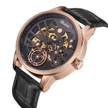 Oulm 3624 zegarek mechaniczny luksusowej marki mężczyźni biznes prawdziwej skóry moda szkielet Oulm automatyczny zegarek mężczyźni erkek kol saati tanie tanio Mechaniczne Zegarki Na Rękę STRYVE Stop Skóra Okrągły 3Bar Hardlex Odporne na wodę Automatyczne self-wiatr Klamra