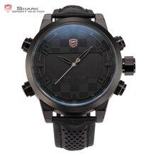 Sawback ángel SHARK reloj deportivo negro análogo-digital doble movimiento LED Fecha Alarma Militar Banda de Cuero Reloj de Hombre / SH206