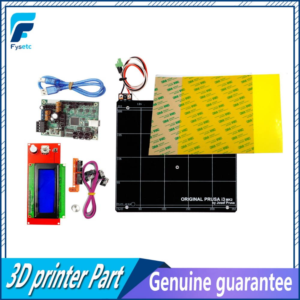 Reprap Prusa i3 MK2 MK2S 3d Printer Mini-Rambo 1.3A Motherboard Kit + Yellow PEI +Aluminum Heated Bed With Ramps 1.4 2004 LCD funssor replacement pei sheet ultem with 200mp adhesive tape for reprap prusa i3 mk2 rework and other size 3d printer