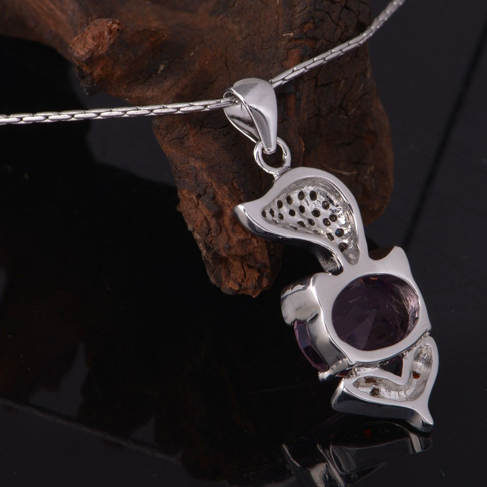 GIFT Fashion Women Girl Silver Cat Crystal Pendant Chain Necklace Xmas Jewelry
