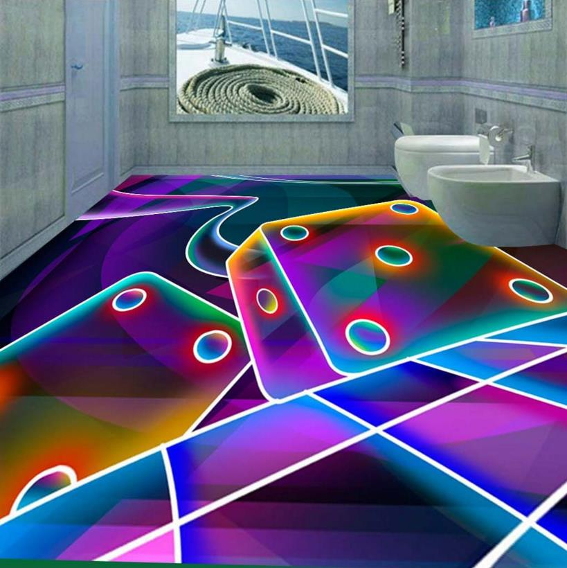 ФОТО Creative 3d floor lines custom 3D squares abstract floor waterproof self-adhesive 3d pvc wallpaper