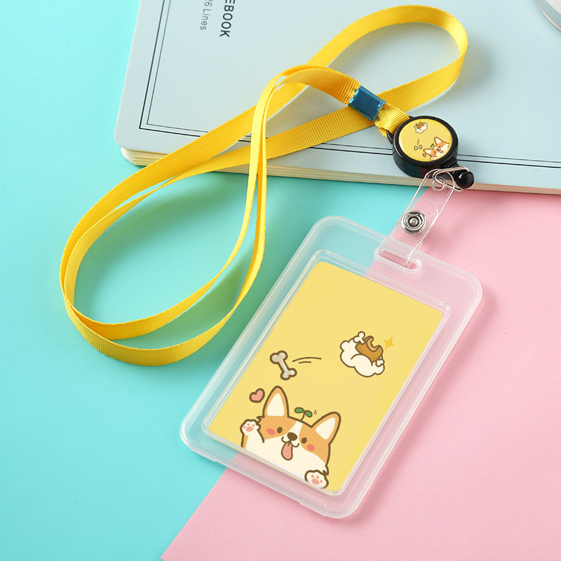 Creative  Animals Men And Women Badge Reel Neck Rope Card Holder Card Buckle Student Boy Girl Extensible Plastic Cat Card Holder