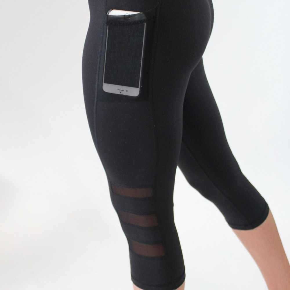 ab8625fd0957a ... Glamcity Pocket Leggings Black Capri Activewear With Phone Pocket High  Waist Leggins Gym Sport Fitness Legging ...
