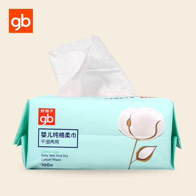 GB 100Pcs Baby Dual Use Dry Wet Wipes Cotton Tissue Traveling Skin Care