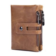 New oil wax leather wallet anti-theft fashion casual short mens double zipper large capacity 568