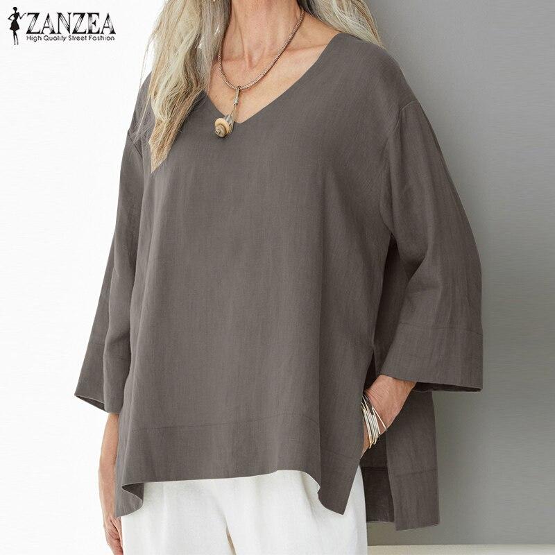 ZANZEA grande taille femmes hauts et chemisiers Vintage solide travail bureau plaine Chemise Blusa Feminina dames décontracté Blusas Chemise Femme