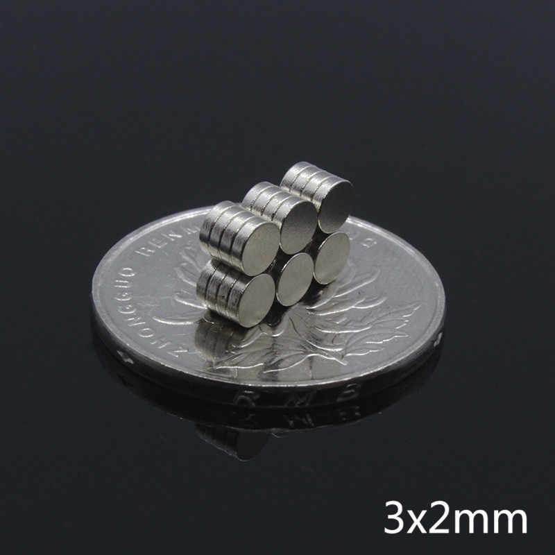 100 piezas 3mm x 2mm imán de neodimio N35 pequeño redondo Mini Super fuerte rara tierra potente imanes magnéticos disco para artesanía 3*2mm