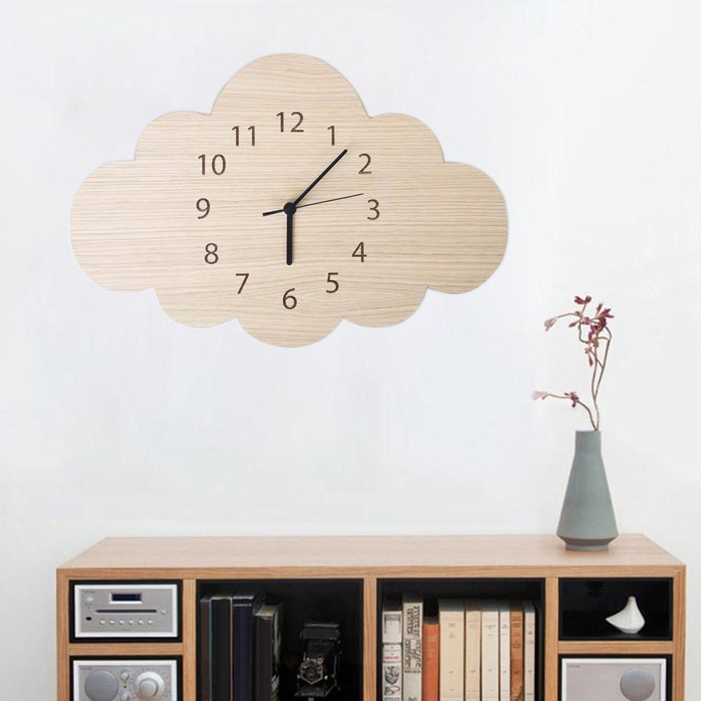 Nordic Cloud Shape Wooden Mute Wall Clock Bedroom Kids Room Home Decoration