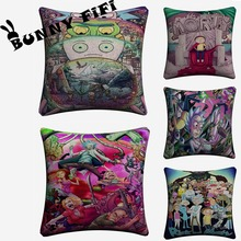 Rick And Morty Cartoon Decorative Pillow Covers For Sofa Home Decor Linen Cushion Case 45x45cm Throw Pillow Cases new year buck flower bird decorative pillow covers for sofa home decor linen cushion case 45x45cm throw pillow cases