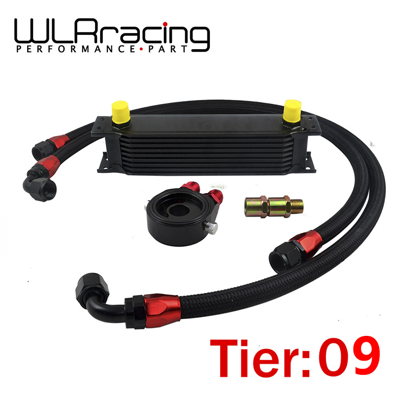 ФОТО WLRING STORE- UNIVERSAL 9 ROWS OIL COOLER + OIL FILTER SANDWICH ADAPTER BLACK + SS NYLON STAINLESS STEEL BRAIDED AN10 HOSE
