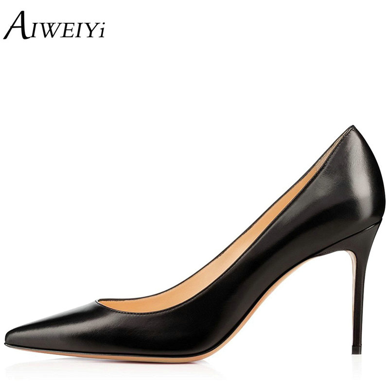 AIWEIYi Sexy Women Pumps Pointed Toe High Heels Shoes 8CM Thin High Heels Ladies Wedding Shoes Pumps Party Dress Shoes ladies real leather high heels pumps pointed toe sexy thin high heeled shoes women shine wedding party footwears size 34 39