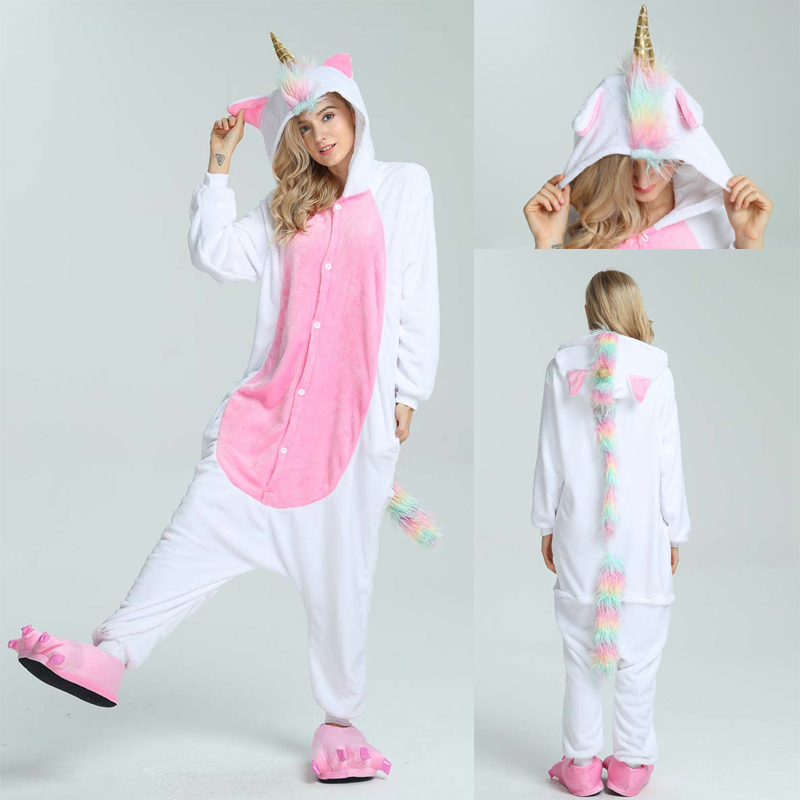 2019  Adults Animal Pajamas Sets Cartoon Sleepwear Unicorn Onesies Stitch Kigurumi Unicornio Women Men Warm Flannel Hooded
