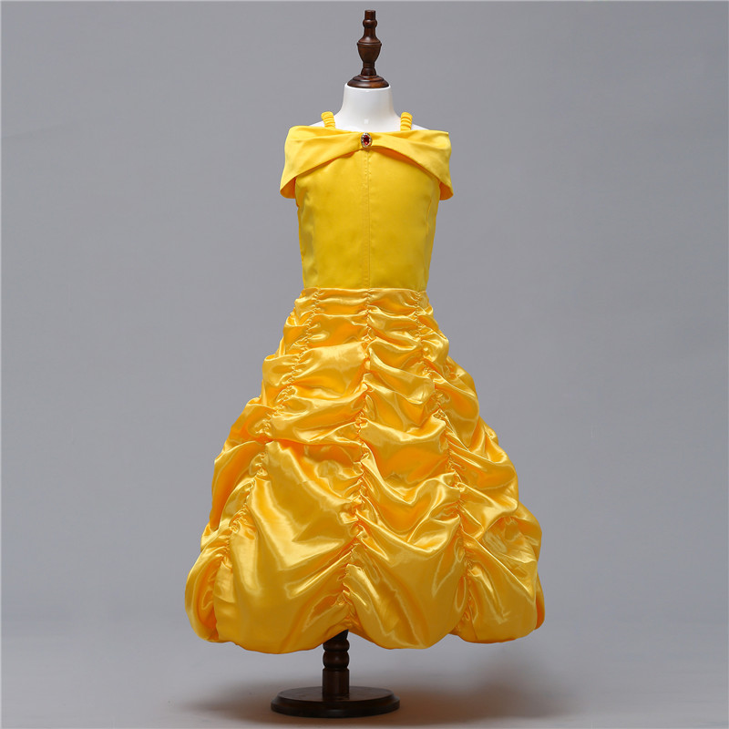 Girls Cartoon Belle Dress Kids Shoulderless Yellow Fancy Dress Children Cosplay Beauty Beast Princess Costumes Party Dress nnw beauty and the beast belle cosplay princess fancy kids costumes grils yellow dresses with sleeve hight quality