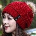 2016 Otoño e invierno sombrero femenino sombrero hecho punto de lana de invierno sombrero de bola de pelo de conejo de punto sombreros calientes de las mujeres Muchos colores