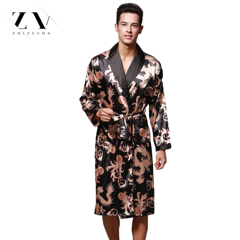 Summer Dragon Bathrobe For Men Print Silk Robes Male Senior Satin Sleepwear Satin Pajamas Long Kimono Men Gown Bathrobe