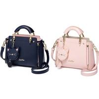 Just Star Leather Handbag Ladies Embroidered Cat Handbag Purse Ladies Tassel Stitching Casual Messenger Bag