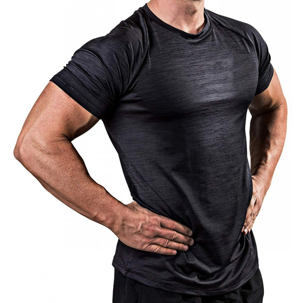 Short Sleeve Quick Dry Solid T-shirt Men Gyms Fitness Bodybuilding Skinny T Shirt Male Jogger Workout Tee Tops Crossfit Clothing