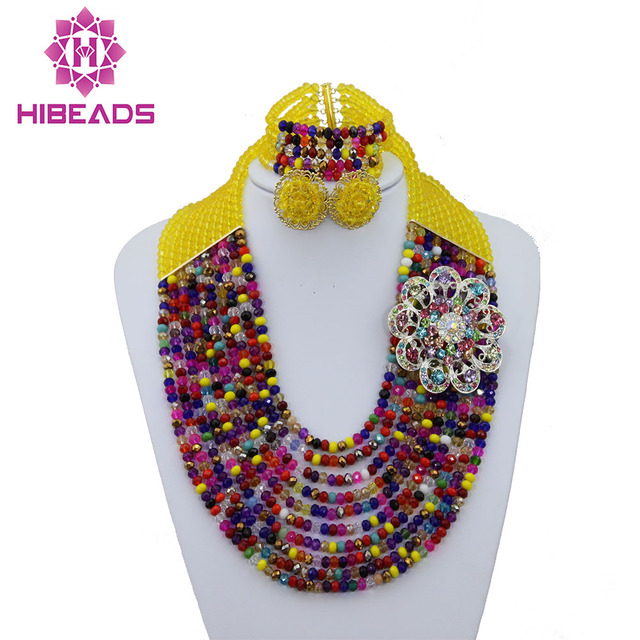 Fashion Multicolor Beads Bridal Jewelry Sets Nigerian Wedding African Beads Jewelry Set Crystal Necklace Free Shipping ABF187