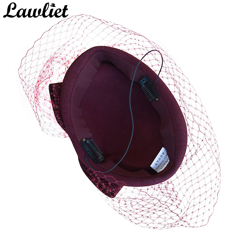 fa6cb02f1d3aa Cute Bow Womens Veil Netting 100% Wool Felt Pillbox Cocktail Hats Dress Winter  Hat Royal
