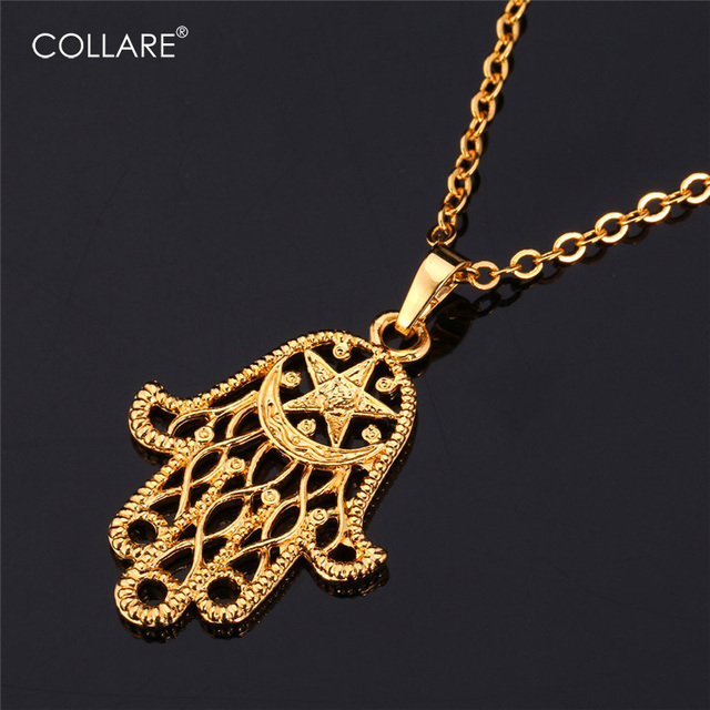 2b5400856af0 Collare Vintage Hamsa Hand Of Fatima Necklaces Pendants Gold Silver Color  Wholesale Lucky Necklace Women Men Jewelry P293