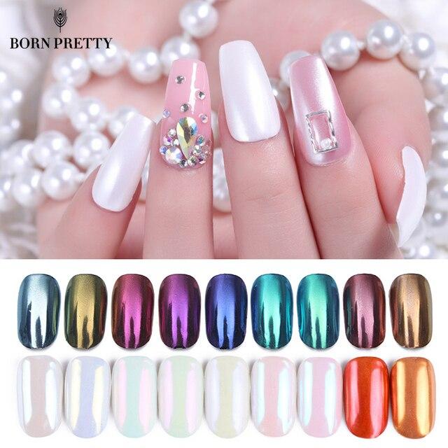 Nacido bastante espejo uñas Polvo de pigmento 1g oro azul púrpura polvo de uñas de manicura arte cromado polvo decoraciones
