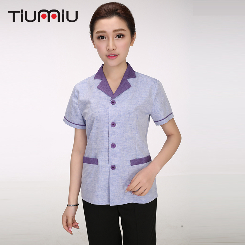 2019 New Summer Hotel Cleaning Uniforms Short Sleeved Work Uniforms Waiter Waitress Clerk Cleaning Service Contrast Color Jacket